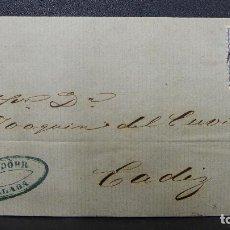 Selos: CARTA DE MALAGA A CADIZ CON SELLO DE 50 MILESIMAS AÑO 1870 Y MARCA O MEMBRETE OVALADA. Lote 183434102