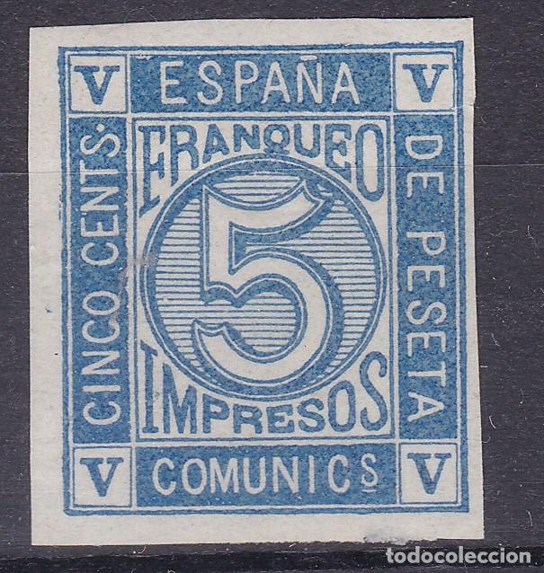 TT26- CLÁSICOS EDIFIL 117PRUEBA COLOR AZUL. SIN DENTAR SIN GOMA. (Sellos - España - Amadeo I y Primera República (1.870 a 1.874) - Nuevos)