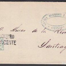 Sellos: CARTA, GRANADA A SANTIAGO, 1874 EDIFIL Nº 130, MARCA *FRANQUEO INSUFUCIENTE*. Lote 187393531
