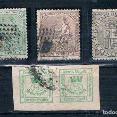 Sellos: ESPAÑA 1873/1874 EDIFIL 130/133/136/141 DOBLE USADOS VARIAS FOTOGRAFIAS. Lote 187460177