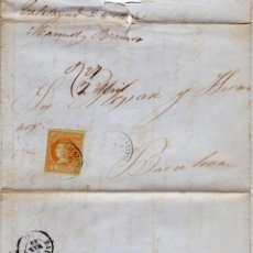 Selos: AÑO1860 EDIFIL 52 ISABEL II CARTA MATASELLOS CALATAYUD ZARAGOZA. Lote 189362947