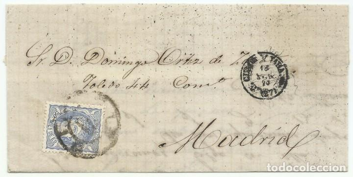 18/06/1870. GUADALAJARA A MADRID, EDIFIL 107 MAT. RUEDA CARRETA 27 (Sellos - España - Amadeo I y Primera República (1.870 a 1.874) - Cartas)