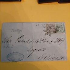 Sellos: SANTIAGO DIRIGIDO LOGRONO MATASELLO SOBRE SELLOS 1874. Lote 190853016