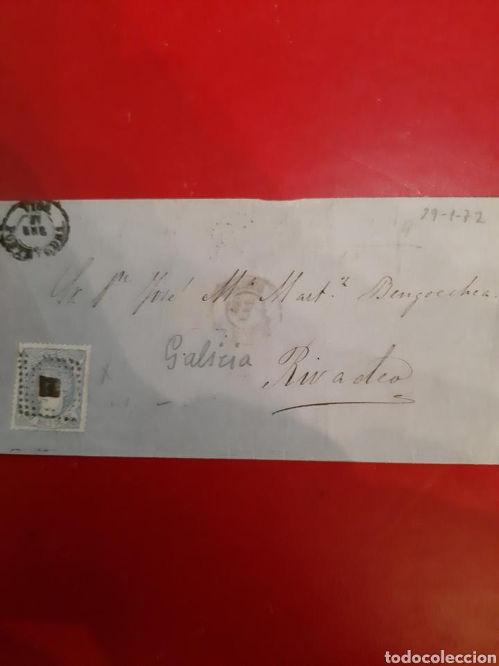 DESTINO RIBADEO LUGO ENVIO MATASELLO PONTEVEDRA SELLO EDIFIL 107 1870 GOBIERNO PREVISIONAL (Sellos - España - Amadeo I y Primera República (1.870 a 1.874) - Cartas)