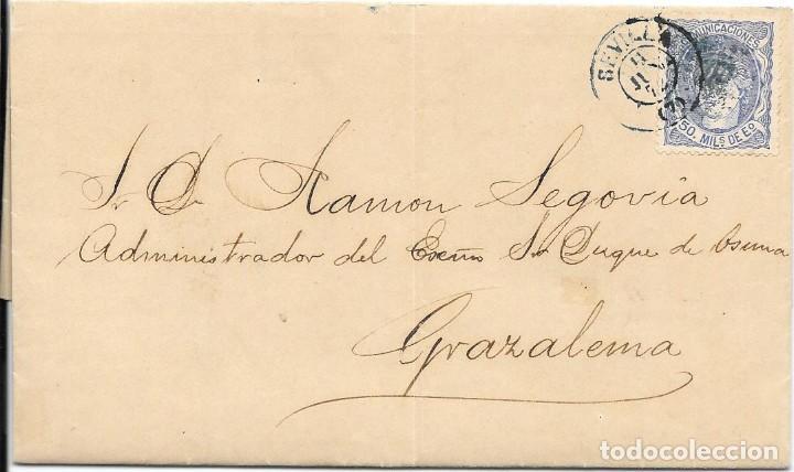 ANDALUCIA. EDIFIL 107. ENVUELTA CIRCULADA DE SEVILLA A GRAZALEMA. 1872 (Sellos - España - Amadeo I y Primera República (1.870 a 1.874) - Cartas)
