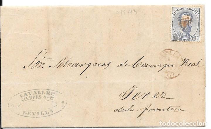 ANDALUCIA. EDIFIL 121. ENVUELTA CIRCULADA DE SEVILLA A JEREZ. 1873 (Sellos - España - Amadeo I y Primera República (1.870 a 1.874) - Cartas)