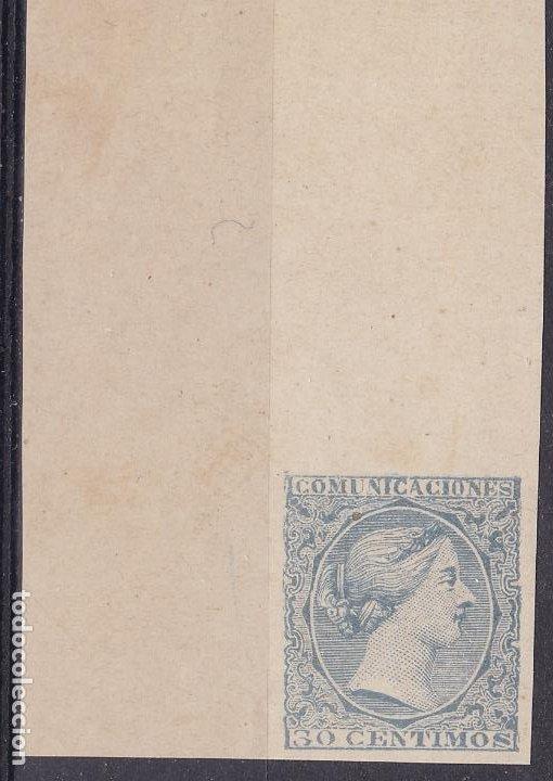 TT33-CLÁSICOS REGENCIA MARÍA CRISTINA PRUEBA SELLO NO ADOPTADO AZUL . (*) LUJO (Sellos - España - Amadeo I y Primera República (1.870 a 1.874) - Nuevos)