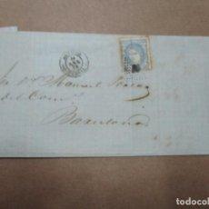 Selos: CIRCULADA EDIFIL 107 PRECIOS CEBADA Y GARBANZOS 1872 DE AGUILAS MURCIA A BARCELONA. Lote 191678481