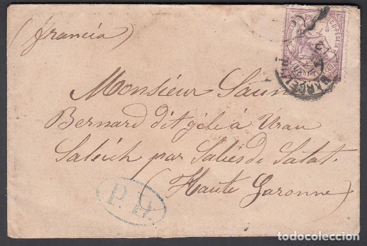 CARTA, BARCELONA - FRANCIA, MATASELLOS FECHADOR DE BARCELONA, SELLO EDIFIL Nº 148, (Sellos - España - Amadeo I y Primera República (1.870 a 1.874) - Cartas)