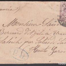 Sellos: CARTA, BARCELONA - FRANCIA, MATASELLOS FECHADOR DE BARCELONA, SELLO EDIFIL Nº 148, . Lote 191740696