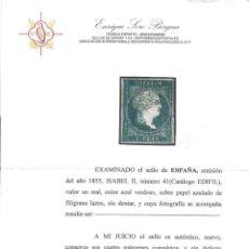 Sellos: AÑO 1855. EDIFIL 41 NUEVO LUJO.CERTIFICADO.. SIN DEFECTOS. VC 1675. Lote 149678818