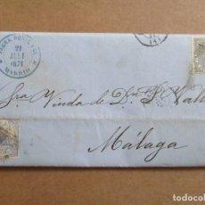 Selos: CIRCULADA Y ESCRITA 1874 DE MADRID A MALAGA. Lote 192476336