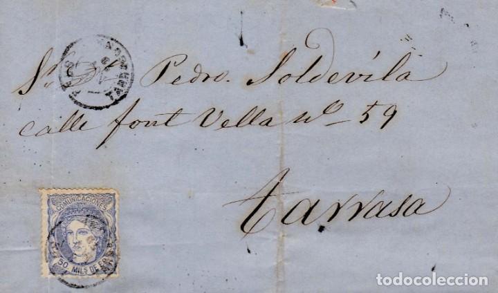 AÑO1870 EDIFIL 107 CARTA MATASELLOS REUS TARRAGONA MEMBRETE DE PEDRO ORTAL (Sellos - España - Amadeo I y Primera República (1.870 a 1.874) - Cartas)