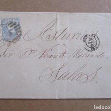Sellos: CIRCULADA Y ESCRITA PRECIO DEL BARRIL DE MANTECA 1871 DE MALAGA A SALAS OVIEDO. Lote 193985935