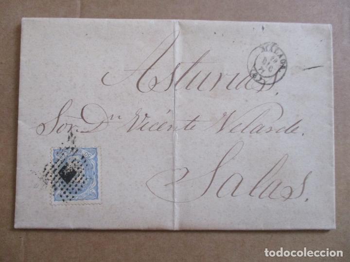 CIRCULADA Y ESCRITA AUN NO HA LLEGADO EL VAPOR AMALIA 1871 DE MALAGA A SALAS ASTURIAS (Sellos - España - Amadeo I y Primera República (1.870 a 1.874) - Cartas)