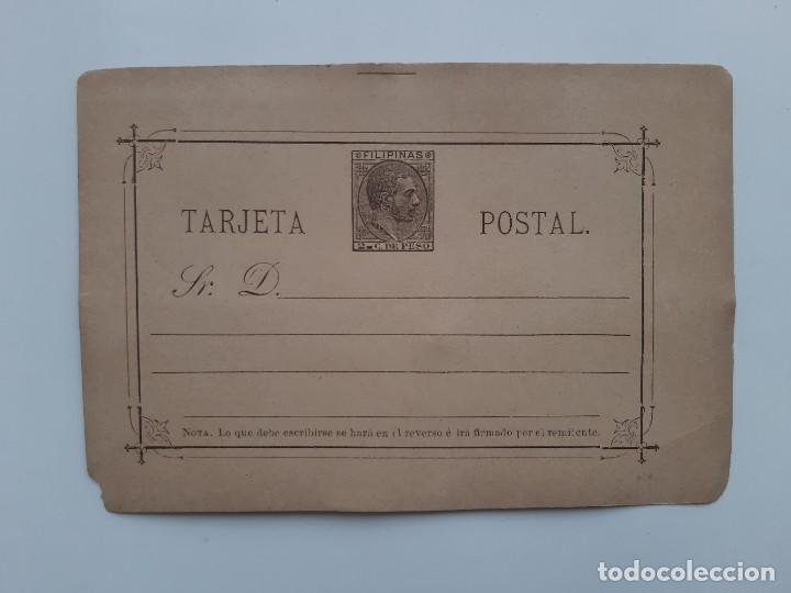 ANTIGUA TARJETA POSTAL SELLO IMPRESO AMADEO 2 C. DE PESO FILIPINAS (Sellos - España - Amadeo I y Primera República (1.870 a 1.874) - Cartas)