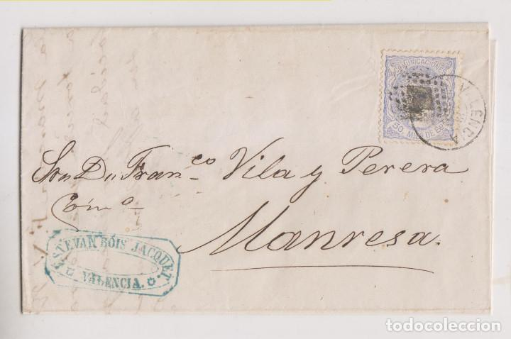 CARTA ENTERA. VALENCIA A MANRESA. 1872. MATRONA. MARCA COMERCIAL (Sellos - España - Amadeo I y Primera República (1.870 a 1.874) - Cartas)