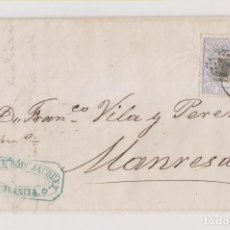 Sellos: CARTA ENTERA. VALENCIA A MANRESA. 1872. MATRONA. MARCA COMERCIAL. Lote 194156867