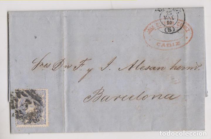 CARTA ENTERA. CÁDIZ. 1870. MATRONA. FECHADOR Y PARRILLA CON CIFRA (Sellos - España - Amadeo I y Primera República (1.870 a 1.874) - Cartas)