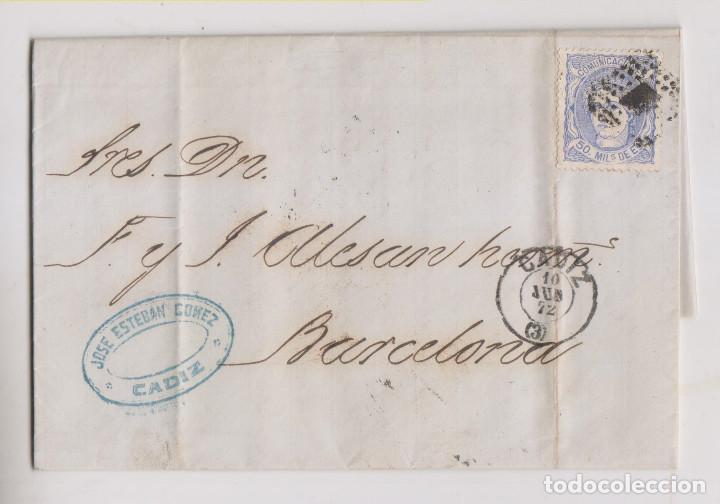 CARTA ENTERA. CÁDIZ. 1872. MATRONA. FECHADOR Y ROMBO DE PUNTOS. MARCA COMERCIAL (Sellos - España - Amadeo I y Primera República (1.870 a 1.874) - Cartas)