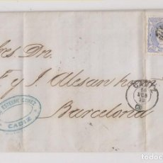 Sellos: CARTA ENTERA. CÁDIZ. 1872. MATRONA. FECHADOR Y ROMBO DE PUNTOS. MARCA COMERCIAL. Lote 194157635