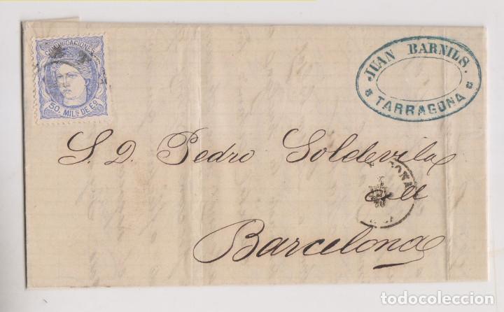CARTA ENTERA. TARRAGONA. 1870. RUEDA DE CARRETA. MATRONA. MARCA COMERCIAL (Sellos - España - Amadeo I y Primera República (1.870 a 1.874) - Cartas)