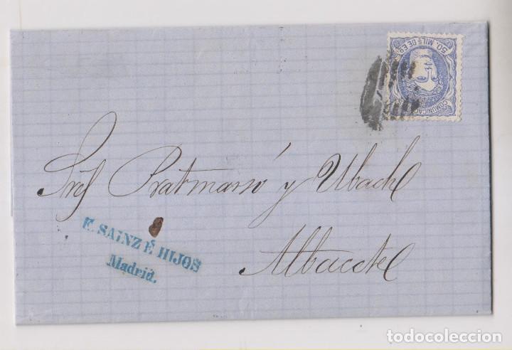 CARTA ENTERA. MADRID A ALBACETE. 1870. MATRONA. PARRILLA CON CIFRA. MARCA COMERCIAL (Sellos - España - Amadeo I y Primera República (1.870 a 1.874) - Cartas)