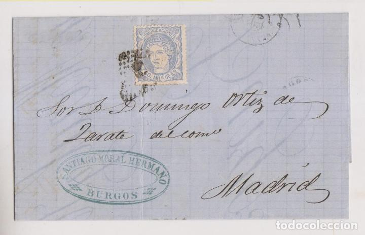 CARTA ENTERA. BURGOS. 1871. MATRONA (Sellos - España - Amadeo I y Primera República (1.870 a 1.874) - Cartas)