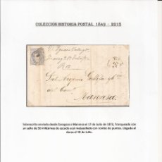 Sellos: AÑO 1872 ZARAGOZA - MANRESA. Lote 195404290