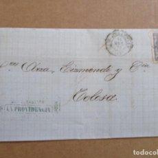 Selos: CIRCULADA Y ESCRITA 1870 DE SEGUROS LA PROVIDENCIA SAN SEBASTIAN A TOLOSA. Lote 195444873
