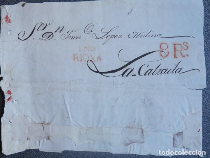 FRONTAL DE PLICA JUDICIAL BONITA MARCA LOGROÑO LA RIOJA A SANTO DOMINGO DE LA CALZADA GRAN TAMAÑO (Sellos - España - Amadeo I y Primera República (1.870 a 1.874) - Cartas)