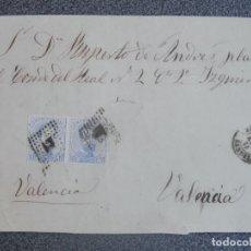 Timbres: FRONTAL DE CARTA AÑO 1873 FECHADOR SEGORBE CASTELLÓN A VALENCIA DOBLE EDIFIL 121 MATASELLO ROMBO. Lote 197315155