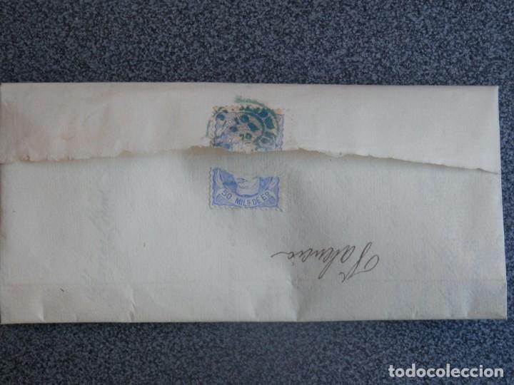Sellos: CARTA COMPLETA AÑO 1870 FECHADOR SEGORBE CASTELLÓN EN AZUL A VALENCIA EDIFIL 107 - Foto 2 - 197315411