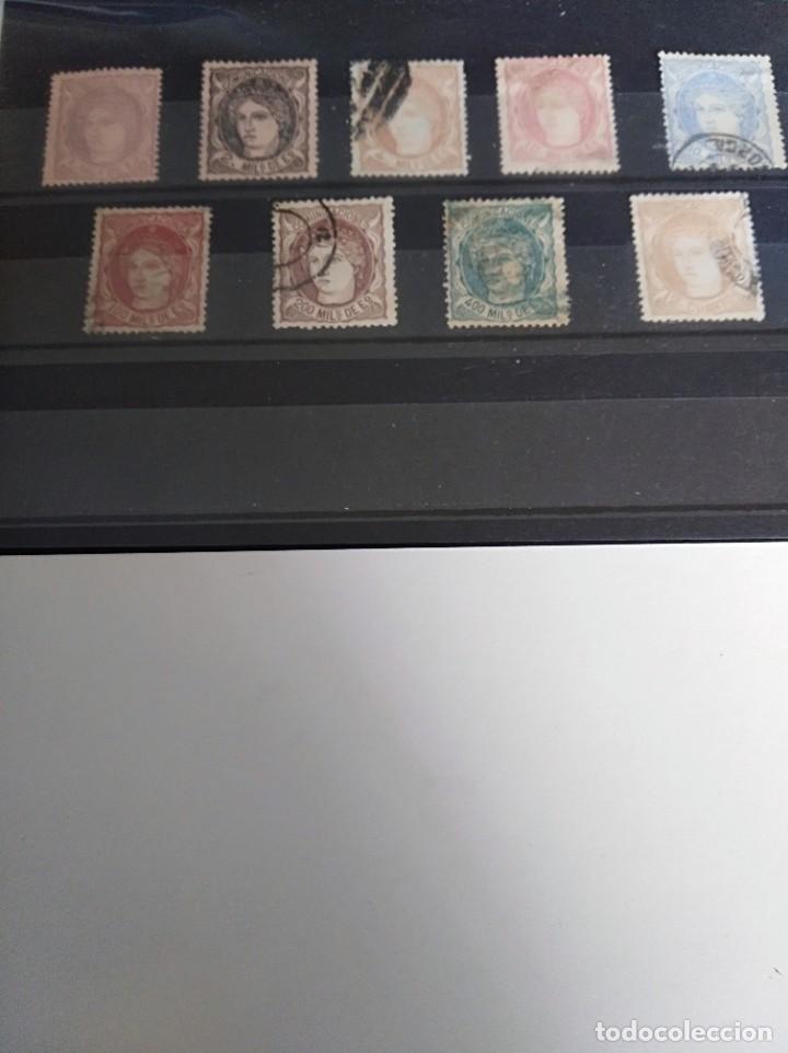 9 SELLOS EFIGIE ALEGÓRICA DE ESPAÑA GOBIERNO PROVISIONAL (Sellos - España - Amadeo I y Primera República (1.870 a 1.874) - Usados)