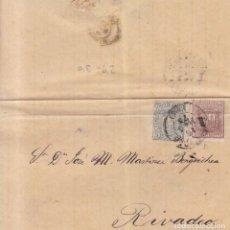 Sellos: AÑO1874-75 EDIFIL 153-54 ENVUELTA MATASELLOS SANTIAGO A RIVADEO. Lote 198466578