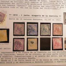 Sellos: 1874 SERIE SELLOS TAL FOTO ALEGORÍA DE LA JUSTICIA 10 SELLOS TAL FOTO. Lote 199243575