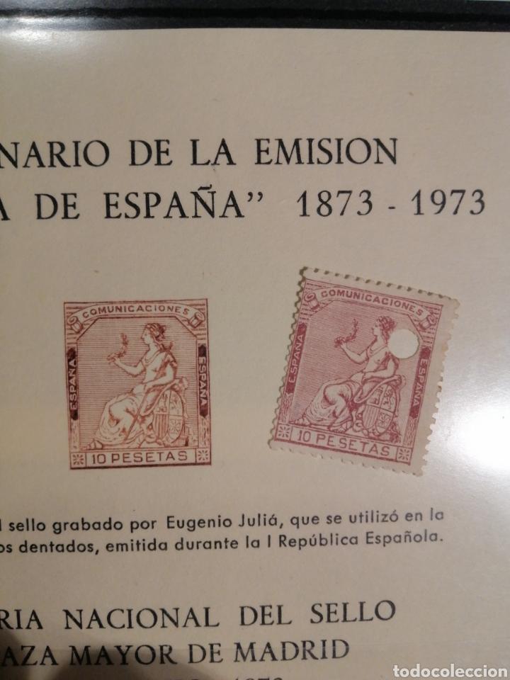 1873 SELLO Y HOJA 1973 TALADRO 10 PESETAS (Sellos - España - Amadeo I y Primera República (1.870 a 1.874) - Nuevos)