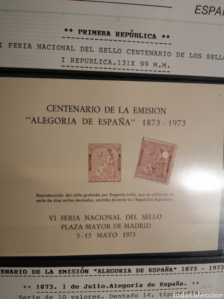 Sellos: 1873 sello y hoja 1973 taladro 10 pesetas - Foto 2 - 199244761
