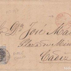 Sellos: CARTA COMPLETA CON SELLO NUM.107 DE MADRID A CADIZ - 1870 - FECHADOR ROJO Y DOBLE MARCA EN EL SELLO. Lote 199427528