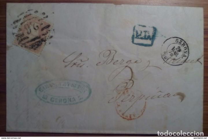 ESPAÑA GERONA PARRILLA CIFRA 26 NUMERADA 1870 GOBIERNO PROVINCIAL PD (Sellos - España - Amadeo I y Primera República (1.870 a 1.874) - Cartas)
