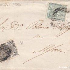 Sellos: CARTA CON SELLOS NUMS. 141 Y133 DE GREGORIO PRIETO EN BURGOS DESTINO ALFARO --1874--. Lote 199739041