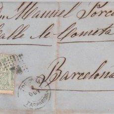 Timbres: CARTA CON SELLO NUM . 133 DE J. MARTI EN CHERTA MATASELLOS TORTOSA --1873--. Lote 199739895