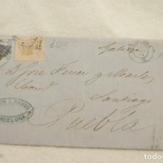 Selos: CARTA ALFONSO XII AMADEO I 1873 SELLOS Y MATASELLOS BARCELONA A PUEBLA CARAMIÑAL GALICIA T82. Lote 202322916