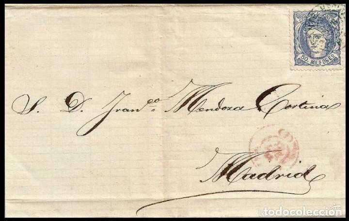 CARTA EDIFIL 107 AMBULANTE SANTANDER VERDE (Sellos - España - Amadeo I y Primera República (1.870 a 1.874) - Cartas)