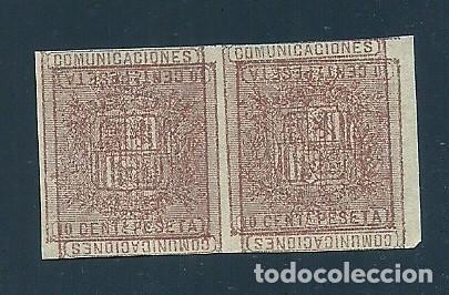 A5-8 ESCUDO DE ESPAÑA EDIFIL Nº 153 PAREJA VARIEDAD DOBLE IMPRESION SIN DENTAR (Sellos - España - Amadeo I y Primera República (1.870 a 1.874) - Nuevos)