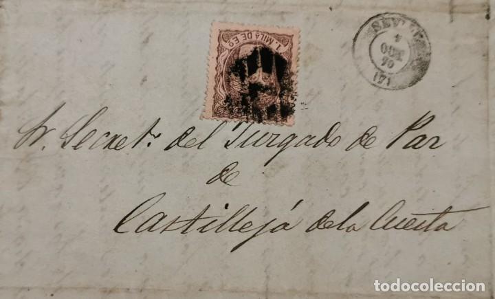 FRONTAL CIRCULADO ENTRE SEVILLA Y CASTILLEJA DE LA CUESTA, 1870, EDIFIL 102 Y FECHADOR (Sellos - España - Amadeo I y Primera República (1.870 a 1.874) - Cartas)