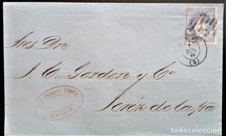ALEGORÍA CADIZ PARRILLA NUMERADA ENVUELTA A JEREZ 1870 EDIFIL 107 (Sellos - España - Amadeo I y Primera República (1.870 a 1.874) - Cartas)