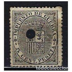 Francobolli: 1874 ESPAÑA ESCUDO - IMPUESTO DE GUERRA - EDIFIL 141 TALADRO TELÉGRAFOS. Lote 208537096