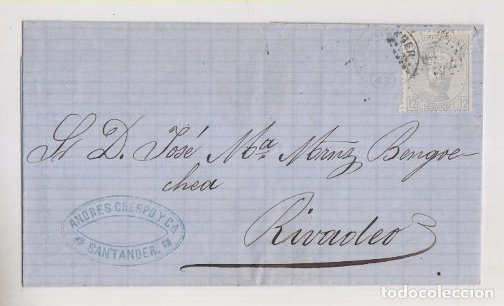 ENVUELTA. 1872. SANTANDER A RIBADEO, LUGO. SELLO 12 CTS. AMADEO I (Sellos - España - Amadeo I y Primera República (1.870 a 1.874) - Cartas)