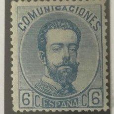 Sellos: 1872-ESPAÑA AMADEO I EDIFIL 119 (*) 6 CÉNTIMOS AZUL - NUEVO -. Lote 209669115